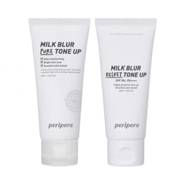 Kem dưỡng nâng tone/ chống nắng từ sữa tươi Peripera Milk Blur Pure/ Velvet Tone Up