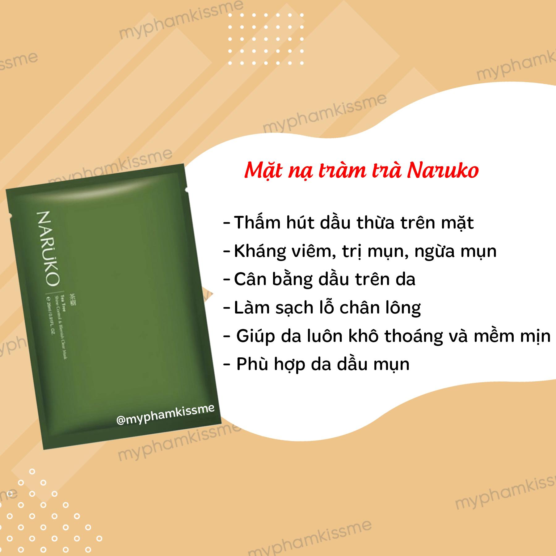 Mặt nạ giấy kiểm soát dầu và mụn Naruko Tea Tree Shine Control and Blemish Clear Mask