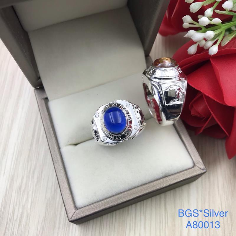 A80013 Nhẫn bạc nam đá ovan 2 bên cọp sắc xảo đẹp độc lạ HCM