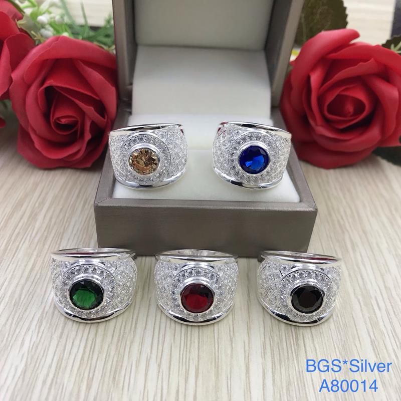 A80014 Nhẫn bạc nam đá tròn mo tấm trắng đơn giản đẹp độc lạ HCM