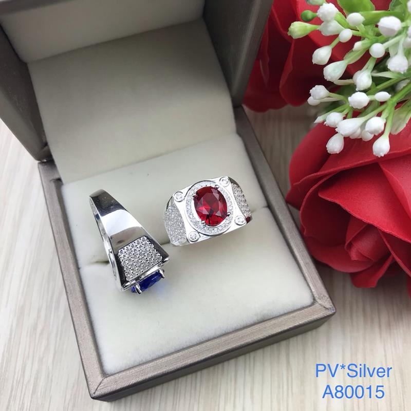 A80015 Nhẫn bạc nam đá ovan màu sang trọng, tinh tế, đẹp độc lạ HCM