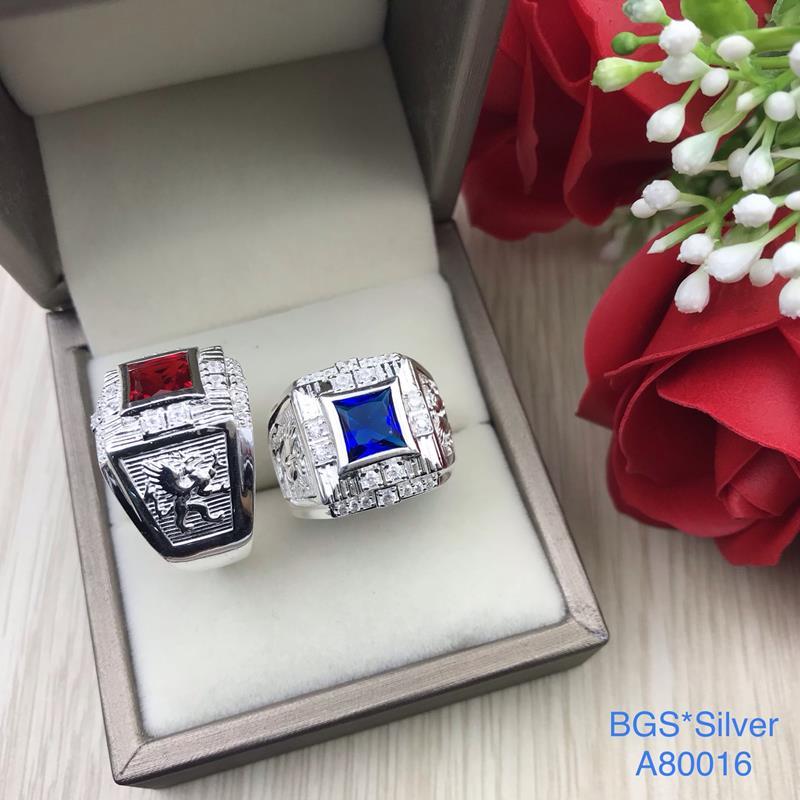 A80016 Nhẫn bạc nam đá vuông màu sang trọng, sắc xảo đẹp độc lạ HCM
