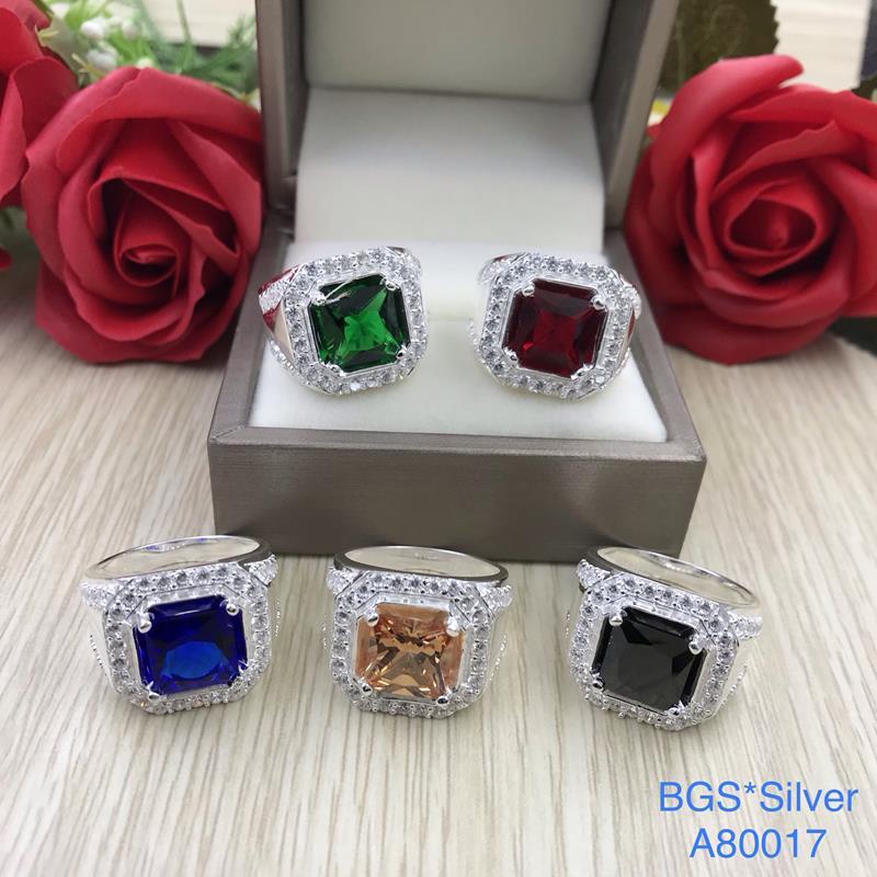 A80017 Nhẫn bạc nam đá vuông màu viền tấm trắng sang trọng, sắc xảo đẹp độc lạ HCM