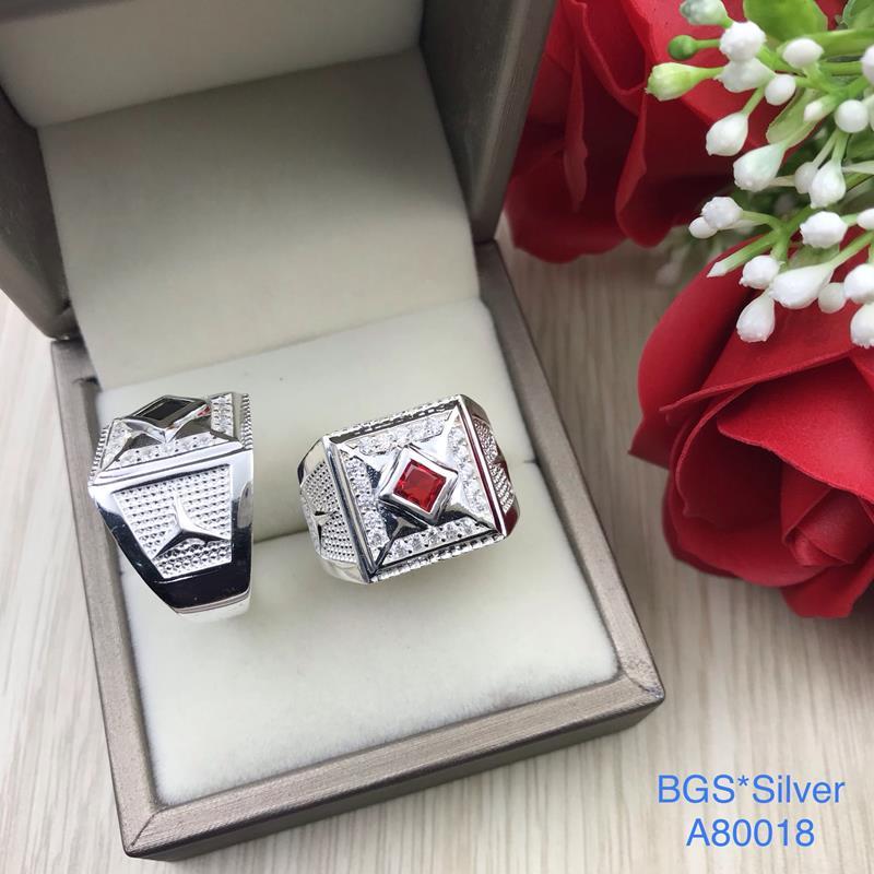 A80018 Nhẫn bạc nam đá màu đẹp độc lạ HCM
