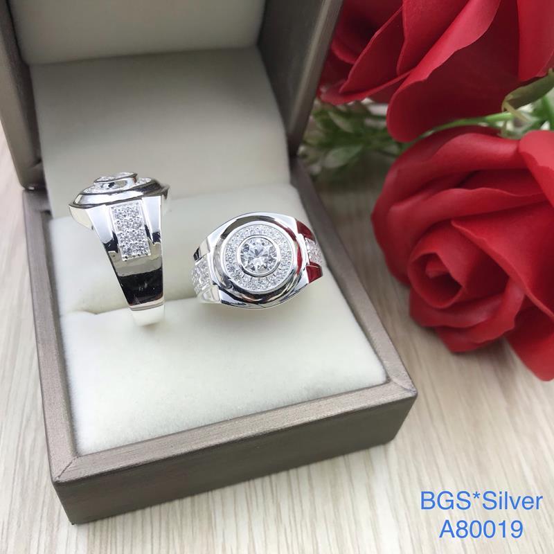 A80019 Nhẫn bạc nam đá trắng đơn giản tinh tế sắc xảo đẹp độc lạ HCM