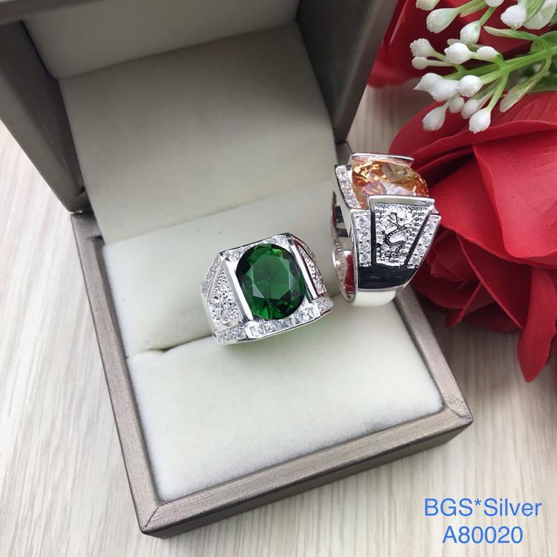 A80020 Nhẫn bạc nam đá ovan màu 2 bên rồng lượn sang trọng, đơn giản đẹp độc lạ HCM