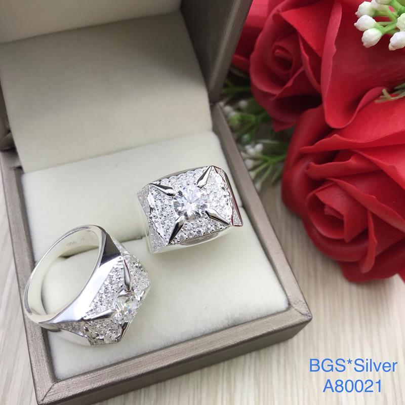 A80021 Nhẫn bạc nam đá trắng đơn giản tinh tế sắc xảo đẹp độc lạ HCM