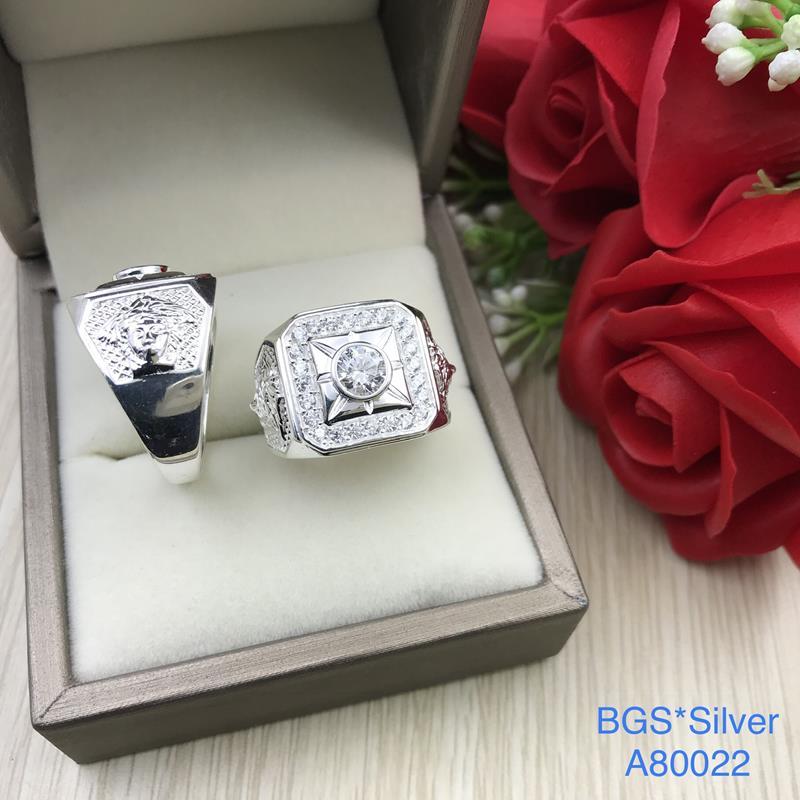 A80022 Nhẫn bạc nam đá trắng đơn giản tinh tế sắc xảo đẹp độc lạ HCM