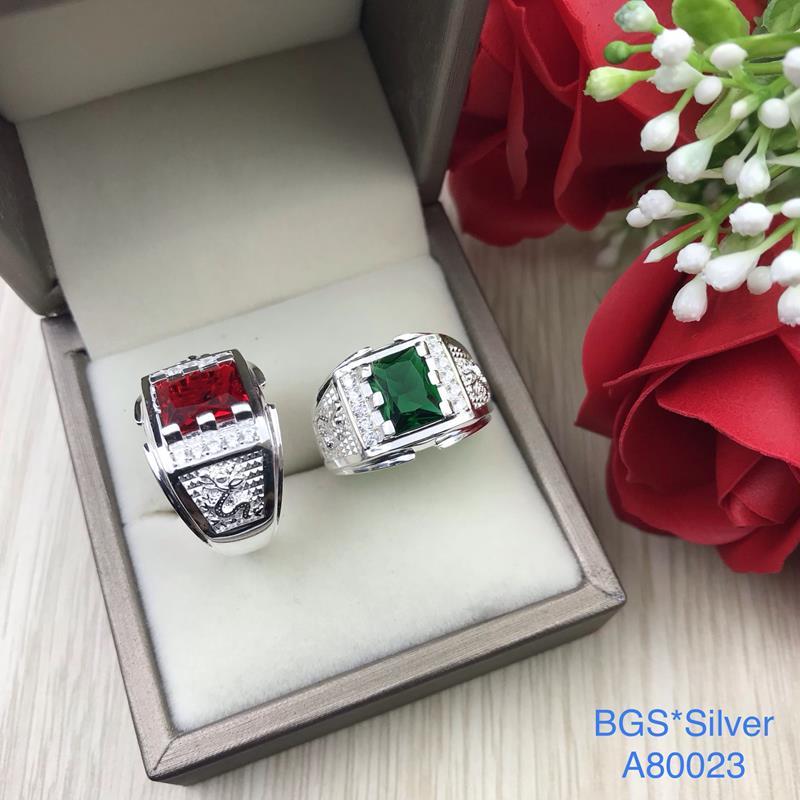 A80023 Nhẫn bạc nam đá chữ nhật 2 bên rồng lượn đẹp tinh tế đẹp độc lạ HCM