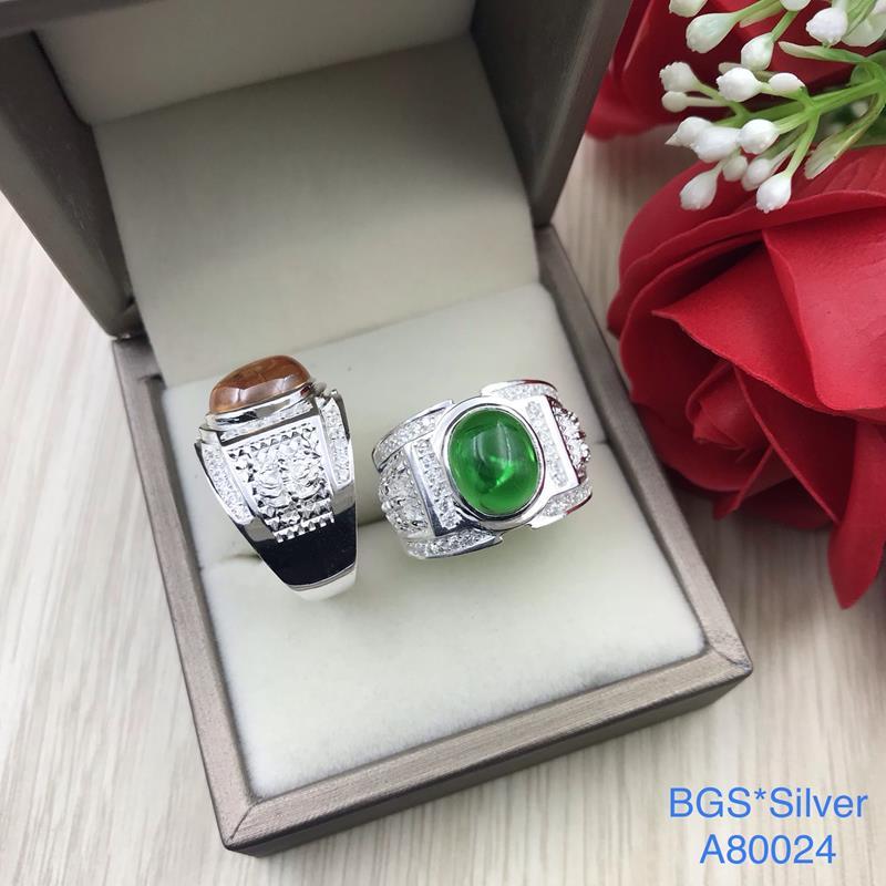 A80024 Nhẫn bạc nam đá ovan màu đẹp độc lạ HCM