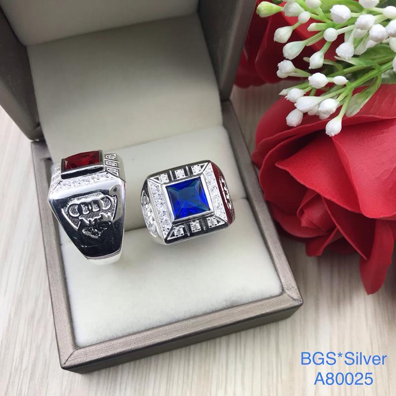 A80025 Nhẫn bạc nam đá vuông màu đẹp độc lạ HCM