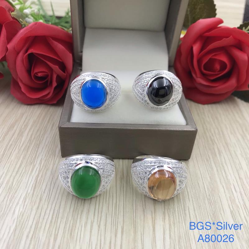 A80026 Nhẫn bạc nam đá màu ovan mo đẹp độc lạ HCM