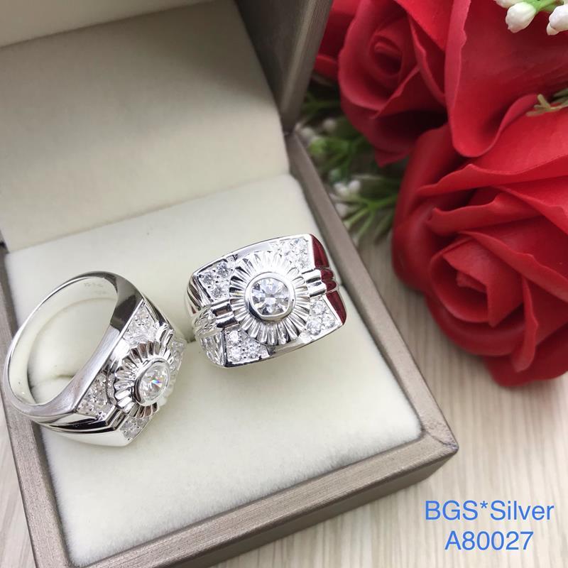 A80027 Nhẫn bạc nam đá trắng đơn giản đẹp độc lạ HCM
