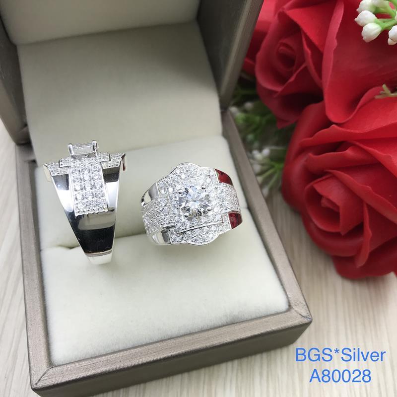 A80028 Nhẫn bạc nam đá trắng đơn giản đẹp độc lạ HCM