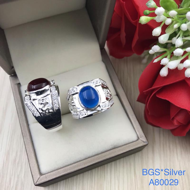 A80029 Nhẫn bạc nam đá ovan màu 2 bên rồng đẹp sang trọng HCM