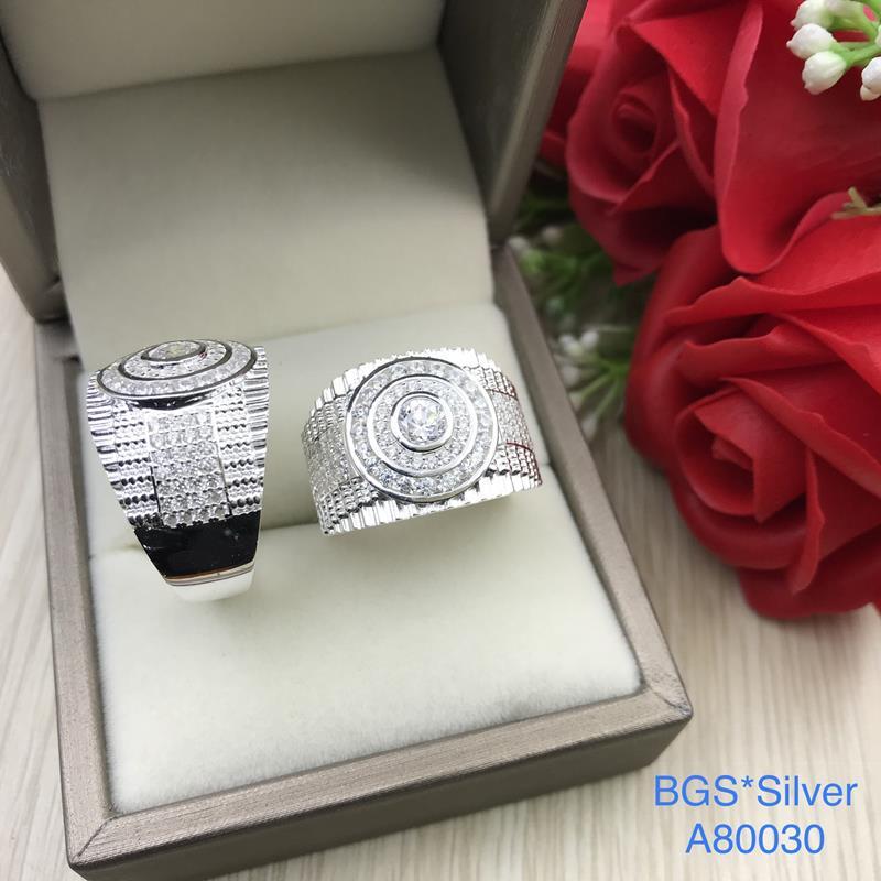 A80030 Nhẫn bạc nam đá trắng kiểu đồng hồ sang trọng đơn giản tinh tế đẹp độc lạ HCM