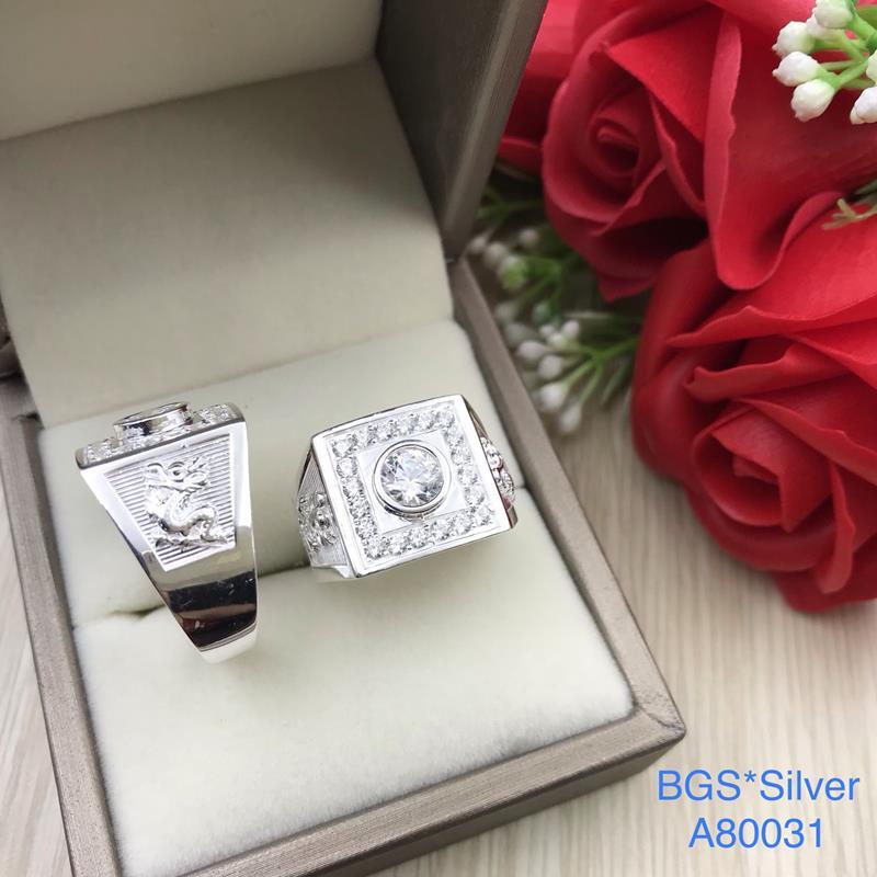A80031 Nhẫn bạc nam đá trắng 2 bên rồng đơn giản sang trọng đẹp độc lạ HCM