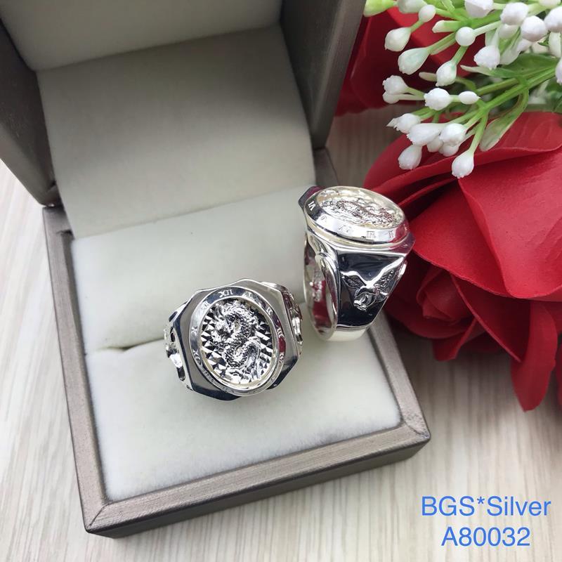 A80032 Nhẫn bạc nam rồng đẹp độc lạ HCM (SIZE 20)