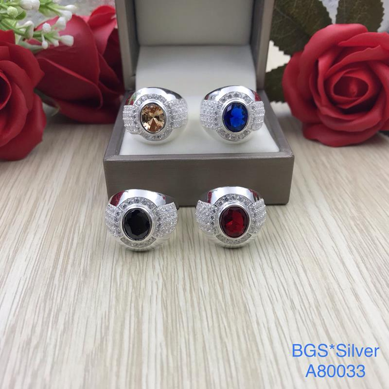 A80033 Nhẫn bạc nam dá màu ovan đơn giản đẹp độc lạ HCM