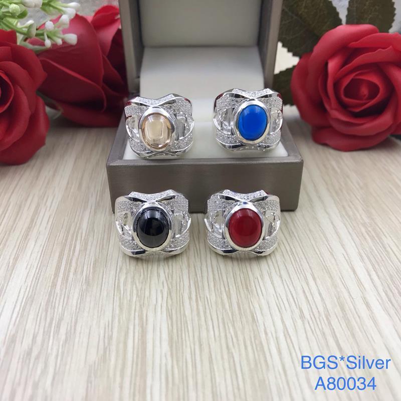 A80034 Nhẫn bạc nam đá ovan màu đẹp sang trọng đẹp độc lạ HCM