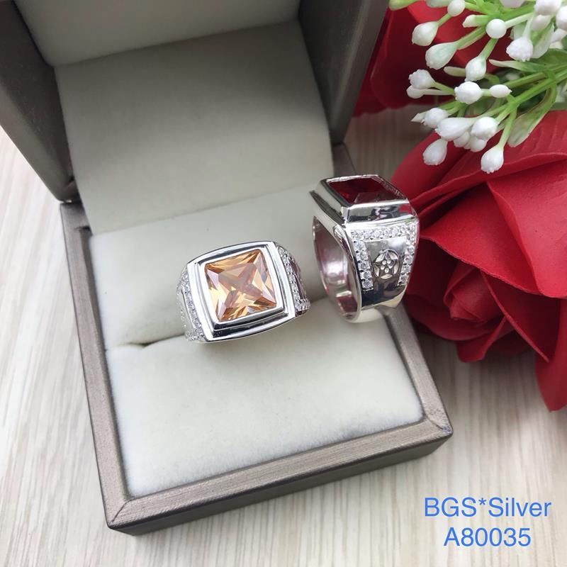 A80035 Nhẫn bạc nam đá vuông màu đơn giản đẹp độc lạ HCM