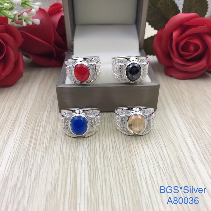A80036 Nhẫn bạc nam đá ovan màu đẹp độc lạ HCM