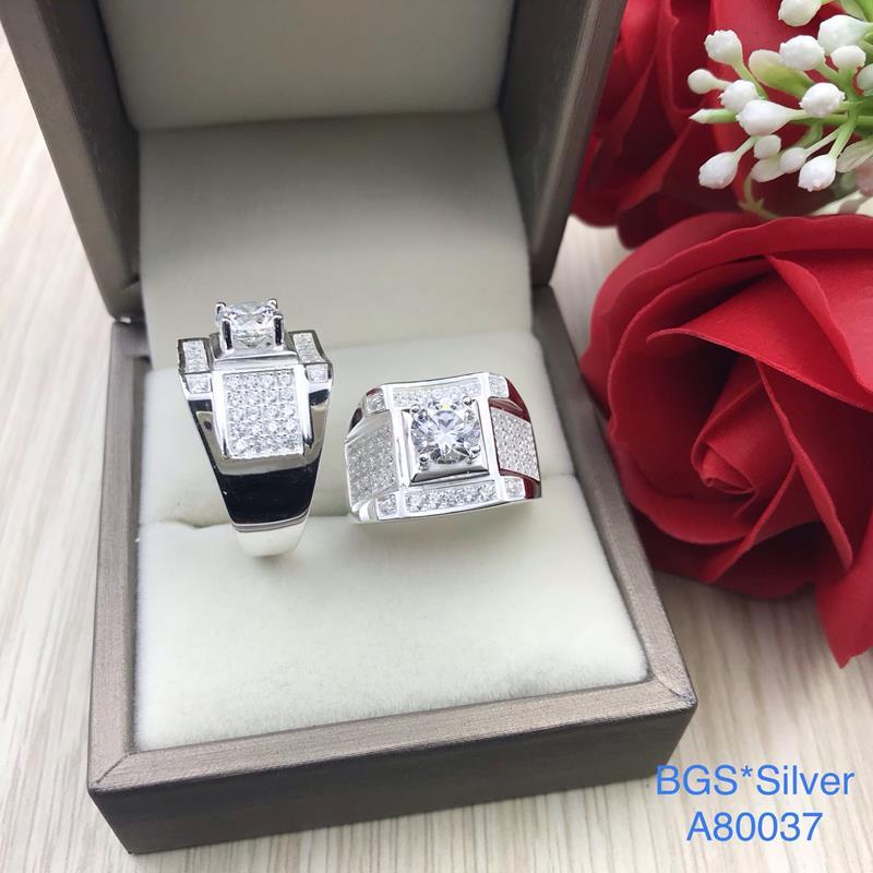 A80037 Nhẫn bạc nam đá trắng sang trọng tinh tế đẹp độc lạ HCM