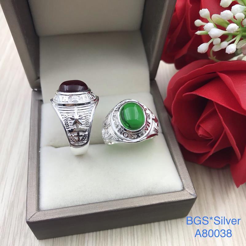 A80038 Nhẫn bạc nam đá màu giả Mỹ đẹp độc lạ HCM
