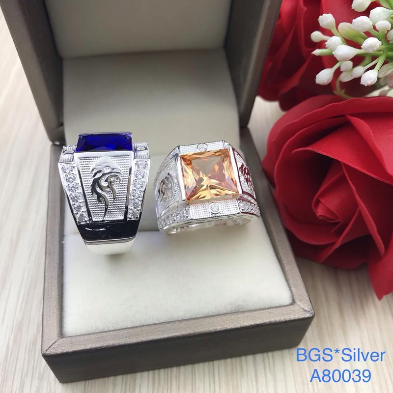 A80039 Nhẫn bạc nam đá vuông màu 2 bên rồng đẹp độc lạ HCM