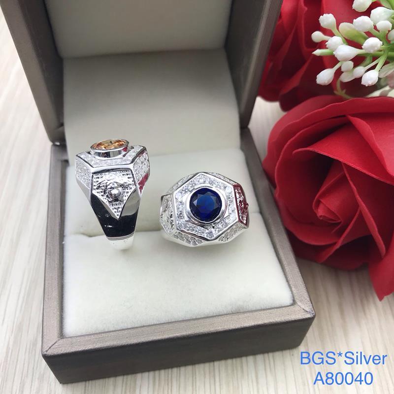 A80040 Nhẫn bạc nam đá màu tròn đơn giản đẹp độc lạ HCM