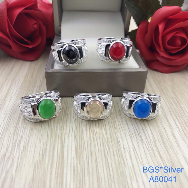 A80041 Nhẫn bạc nam đá màu ovan 2 bên rồng đẹp độc lạ HCM