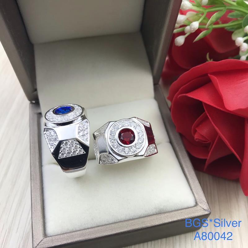 A80042 Nhẫn bạc nam đá màu đơn giản đẹp độc lạ HCM