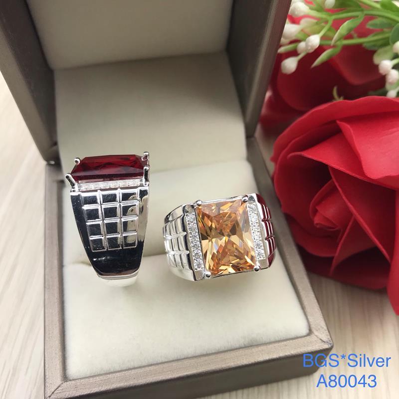 A80043 Nhẫn bạc nam đá màu chữ nhật đẹp độc lạ HCM