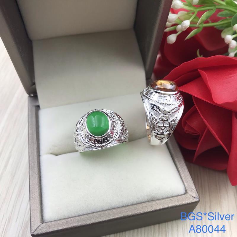 A80044 Nhẫn bạc nam mẫu giả Mỹ đá màu đẹp độc lạ HCM