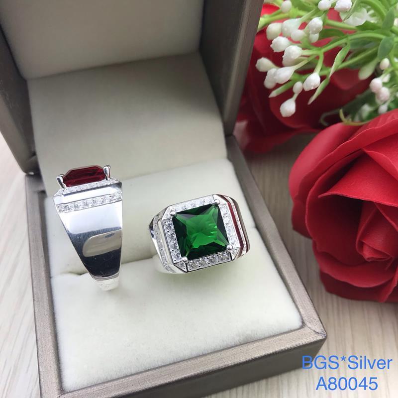 A80045 Nhẫn bạc nam đá màu vuông đơn giản tinh tế đẹp độc lạ HCM