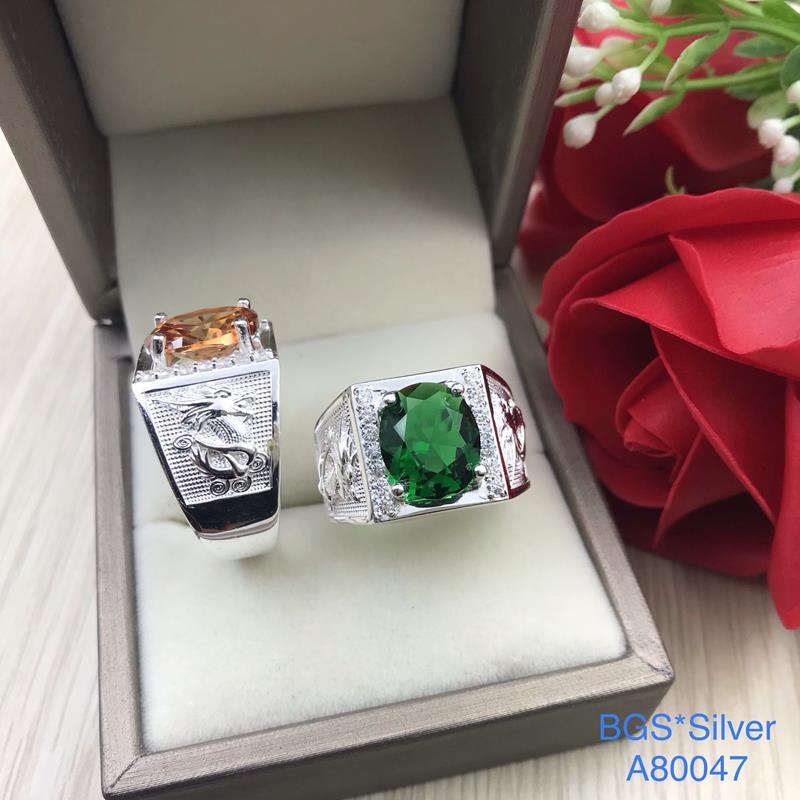 A80047 Nhẫn bạc nam đá ovan màu 2 bên rồng đẹp sang trọng đẹp độc lạ HCM