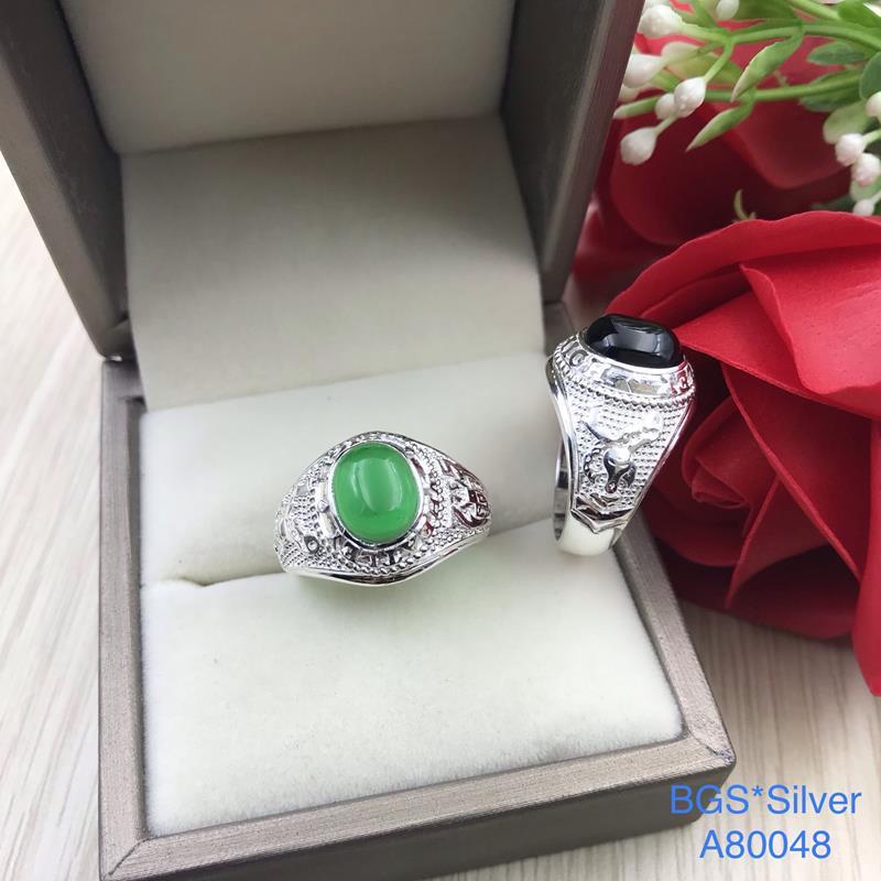 A80048 Nhẫn bạc nam đá màu kiểu giả Mỹ đẹp độc lạ HCM
