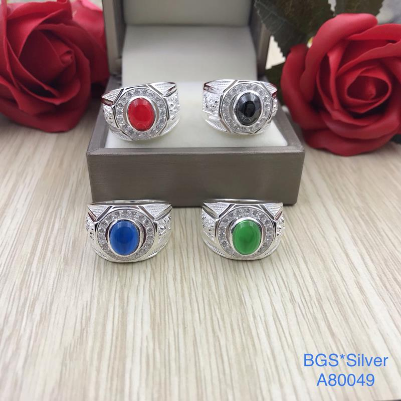 A80049 Nhẫn bạc nam đá ovan màu 2 bên rồng đẹp độc lạ HCM