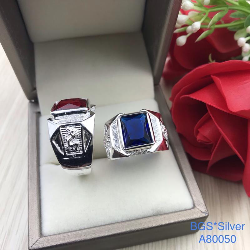 A80050 Nhẫn bạc nam đá màu đẹp độc lạ HCM