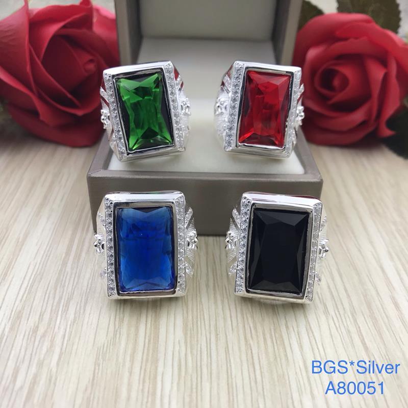A80051 Nhẫn bạc nam đá chữ nhật màu lớn sang trọng đẹp độc lạ HCM