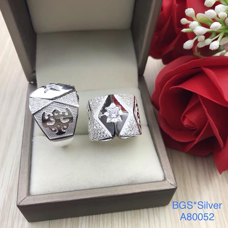 A80052 Nhẫn bạc nam đá trắng đẹp đơn giản sang trọng độc lạ HCM