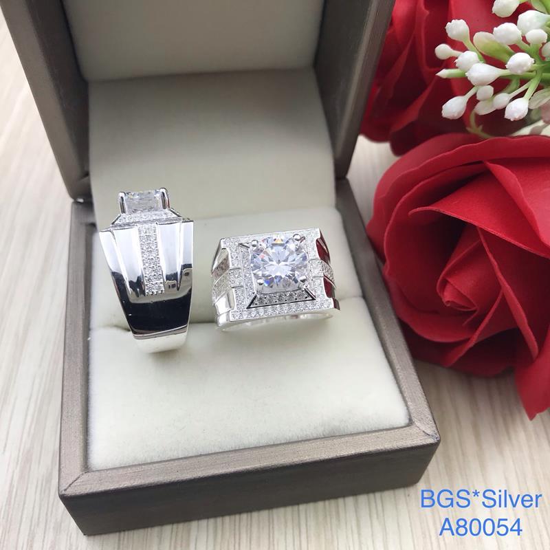 A80054 Nhẫn bạc nam đẹp đá trắng đơn giản sang trọng đẹp độc lạ HCM