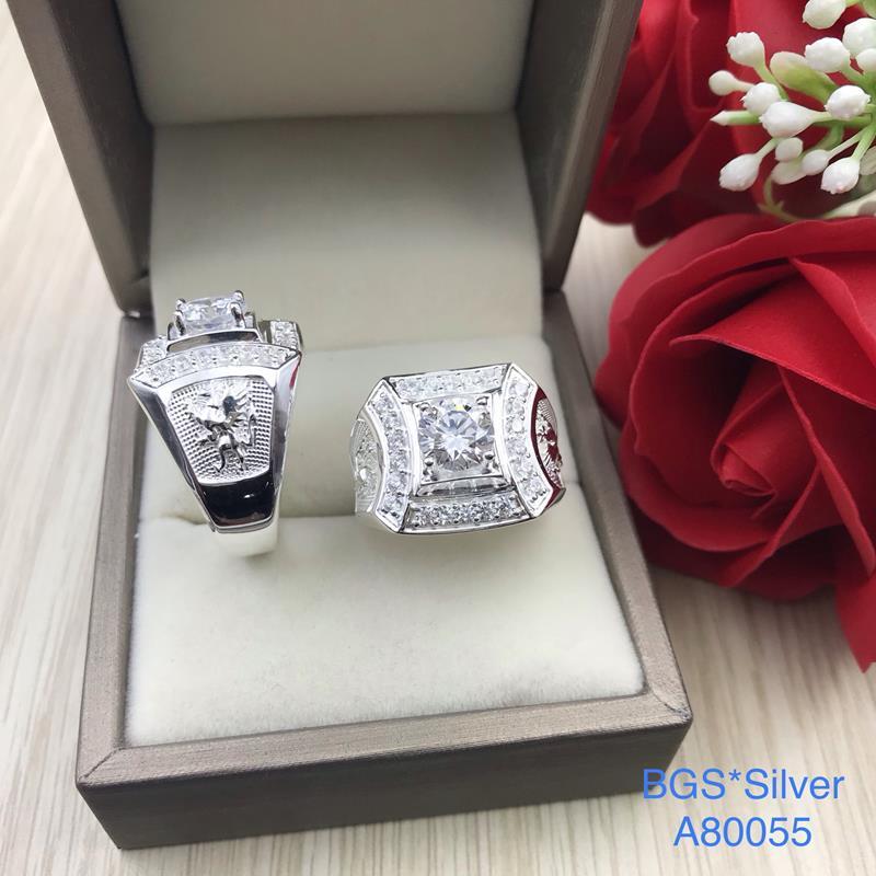 A80055 Nhẫn bạc nam đẹp đá trắng đơn giản sang trọng đẹp độc lạ HCM