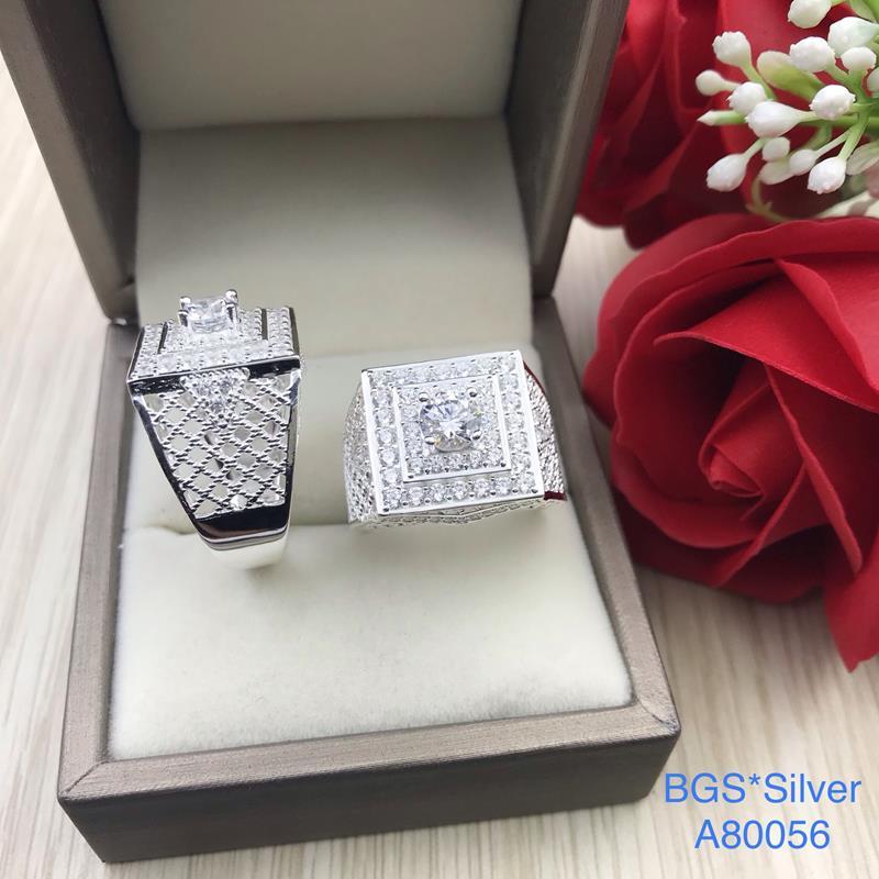 A80056 Nhẫn bạc nam đẹp đá trắng đơn giản sang trọng đẹp độc lạ HCM