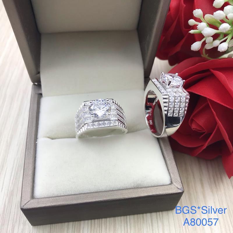 A80057 Nhẫn bạc nam đẹp đá trắng đơn giản sang trọng đẹp độc lạ HCM