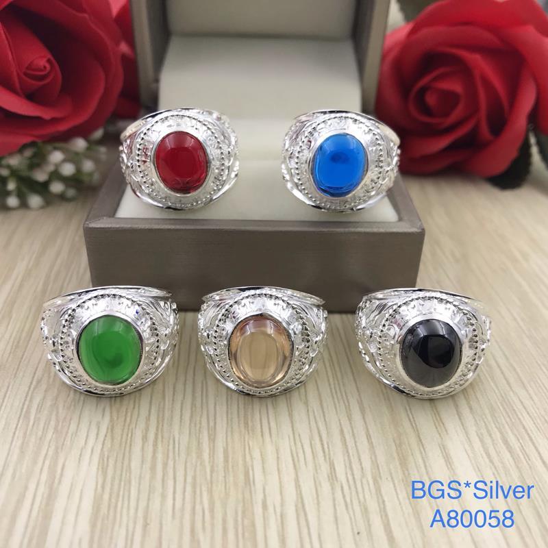 A80058 Nhẫn bạc nam đá màu mẫu giả Mỹ đẹp độc lạ HCM
