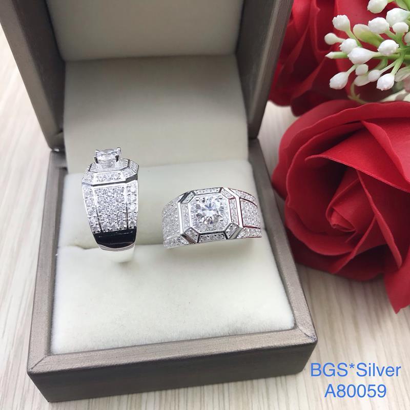 A80059 Nhẫn bạc nam đá trắng sang trọng, đơn giản đẹp độc lạ HCM