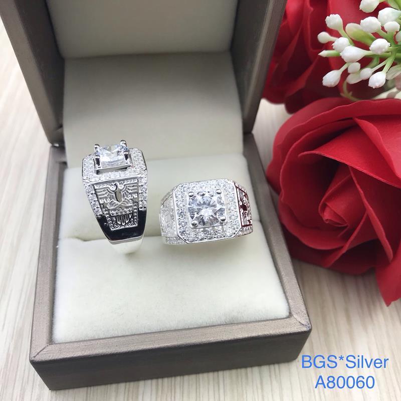 A80060 Nhẫn bạc nam đá trắng 2 bên đại bàng đẹp độc lạ HCM