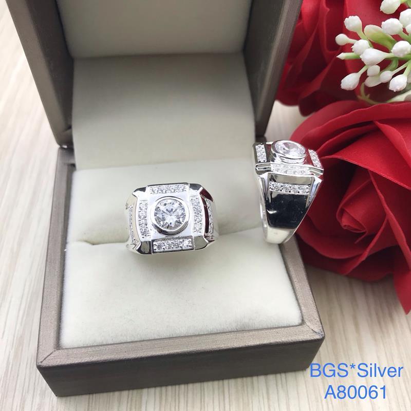 A80061 Nhẫn bạc nam đá trắng đẹp độc lạ HCM