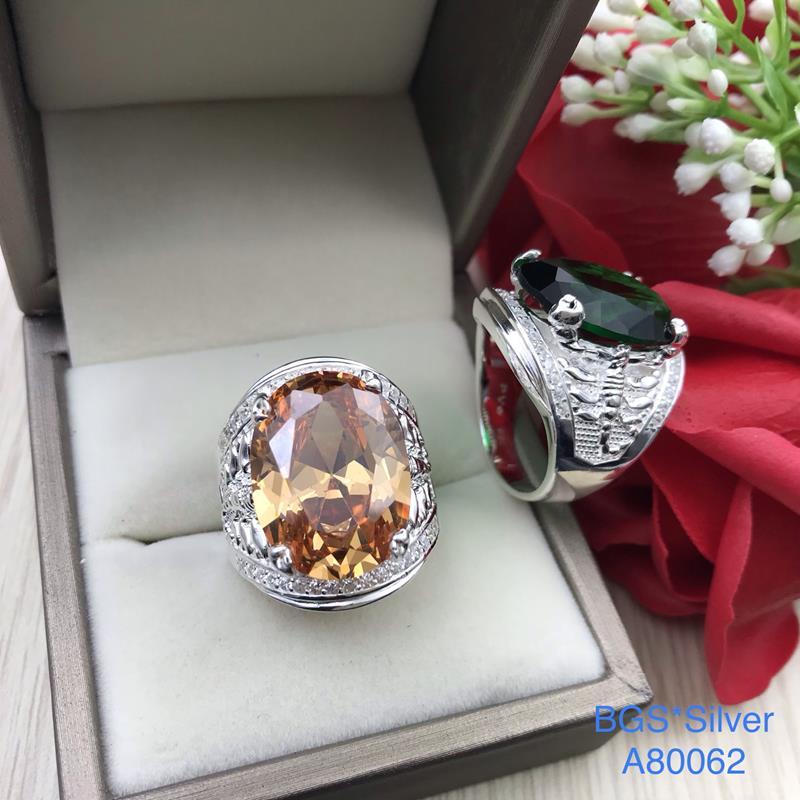 A80062 Nhẫn bạc nam hột ovan đá màu lớn 2 bên bò cạp lùa tấm trắng trên dưới đẹp độc lạ HCM